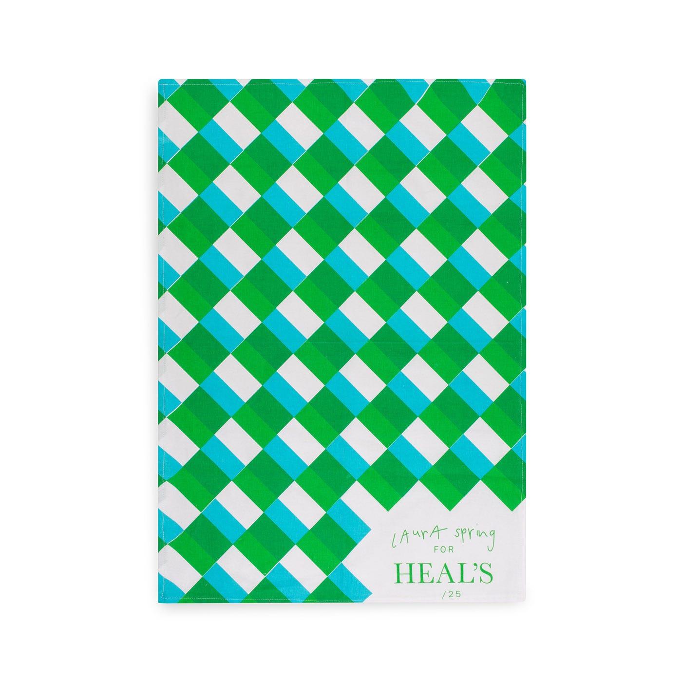 Square Door Tea Towel in Blue and Green
