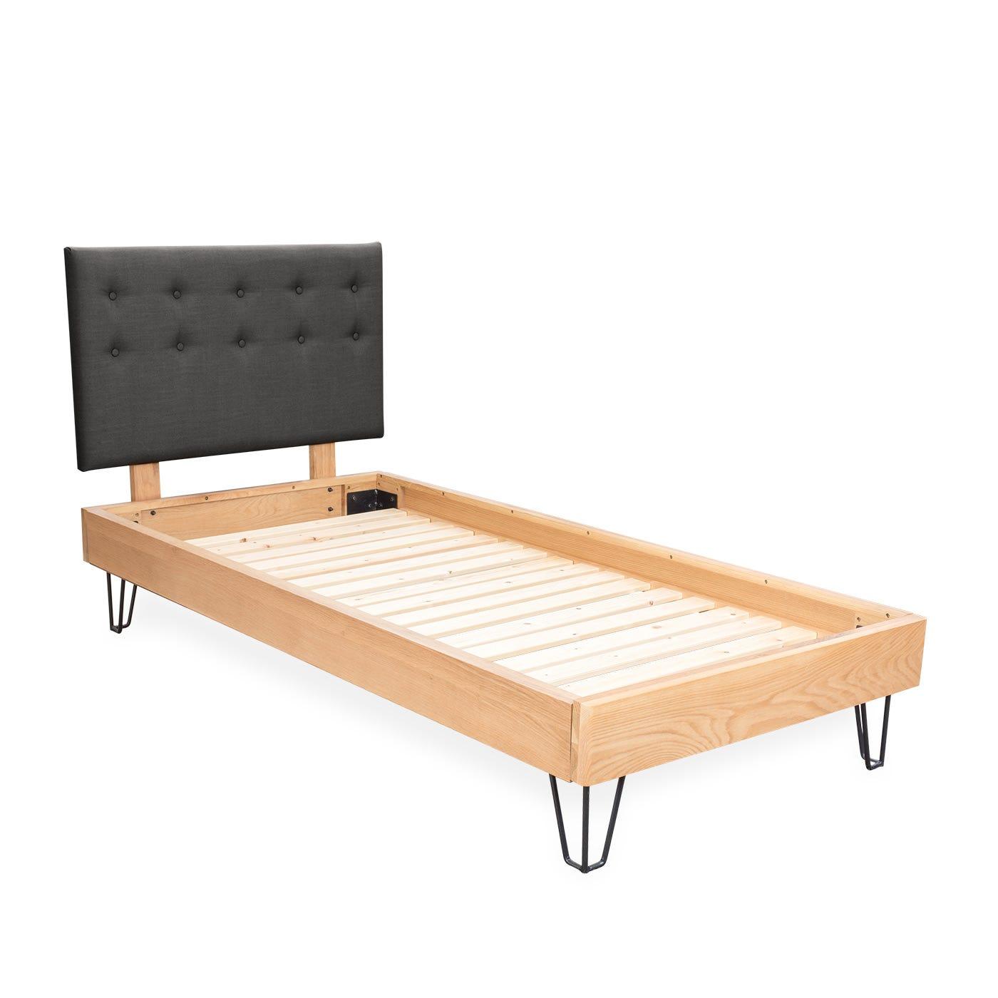 Brunel Bed Fabric Headboard Single Smoke Grey