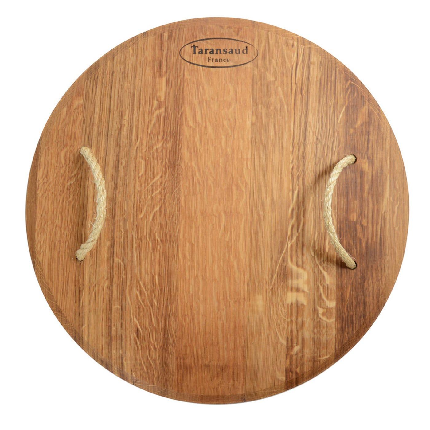 Old Wine Barrel Oak Rope Handle Round Platter