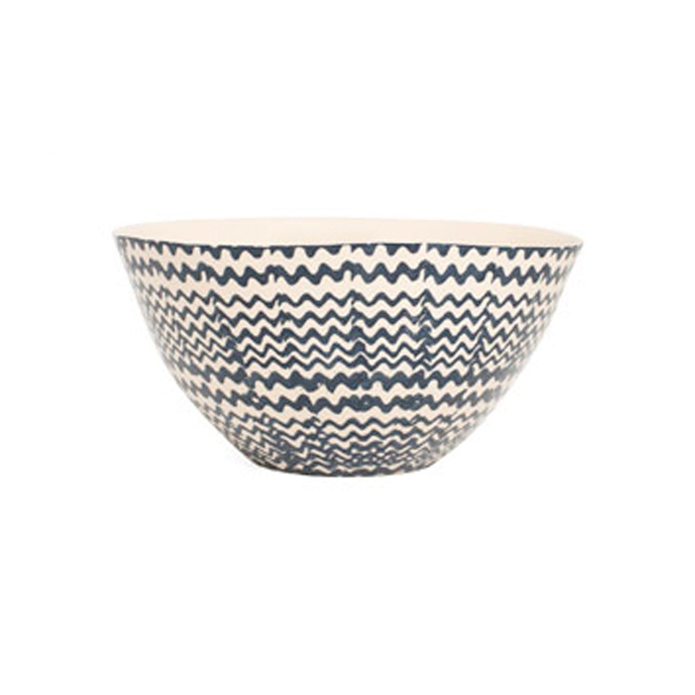 Dark Blue Zigzag Salad Bowl