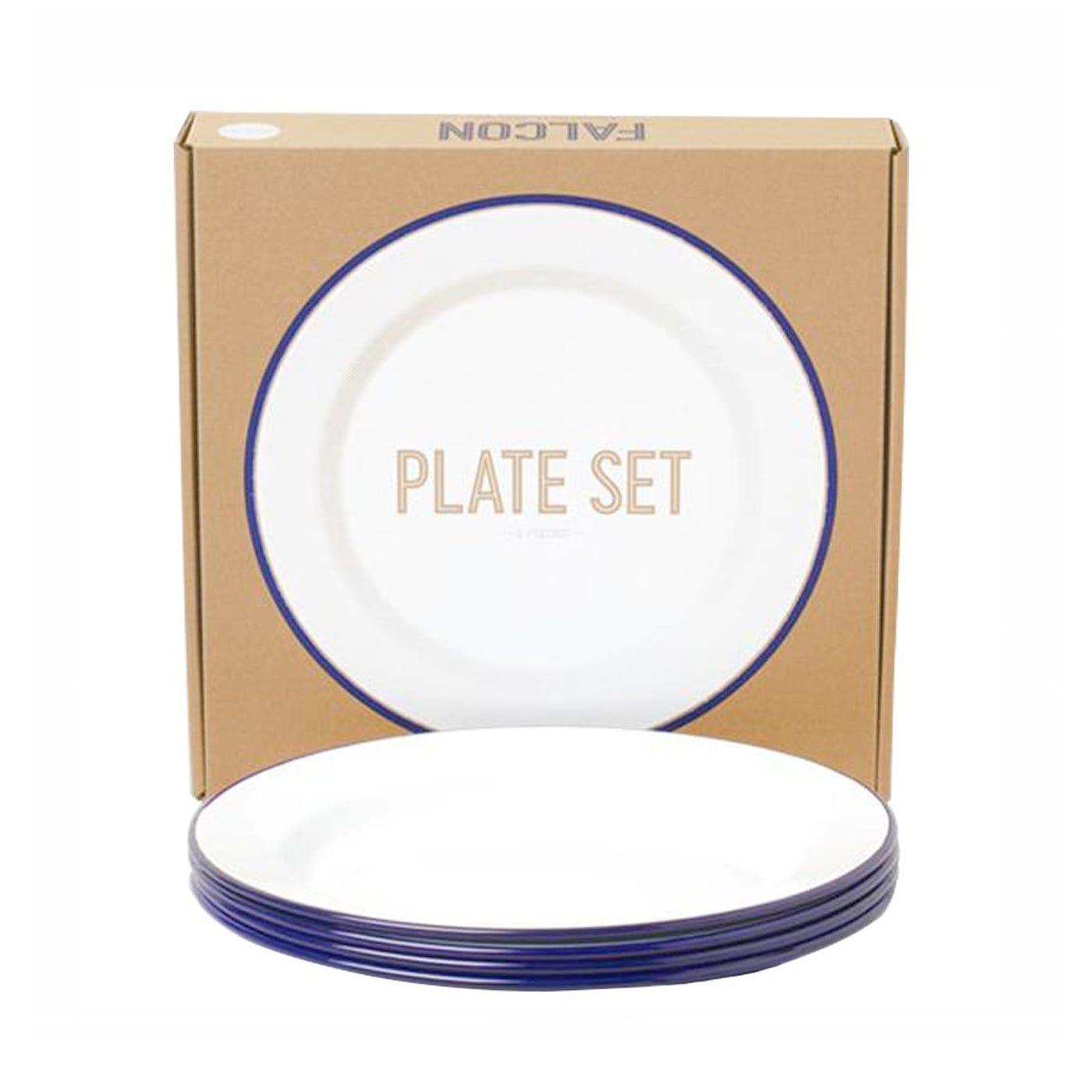 Original White & Blue Rim Plates Set Of 4