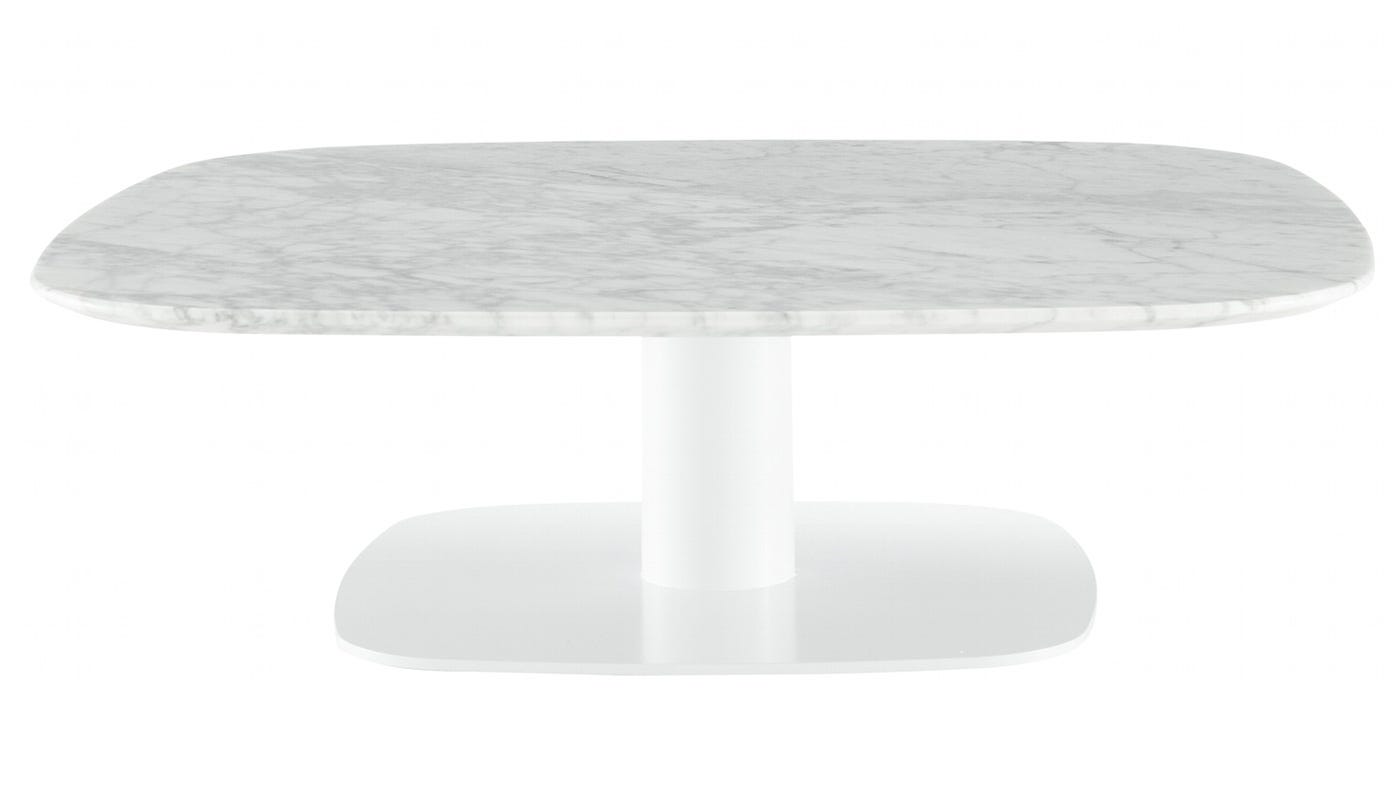 Marble Top : Ligne Roset Alster Gloss White Base Marble Top Low Table