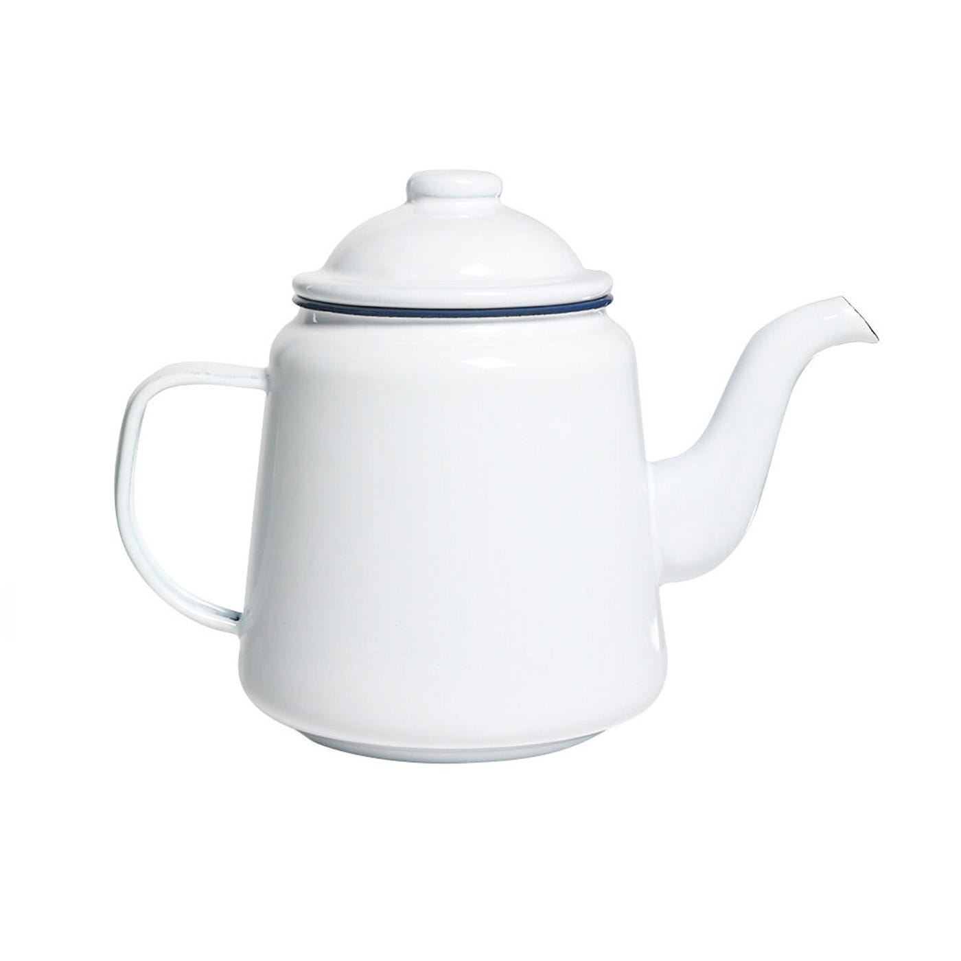 Falcon White With Blue Rim Teapot 1l