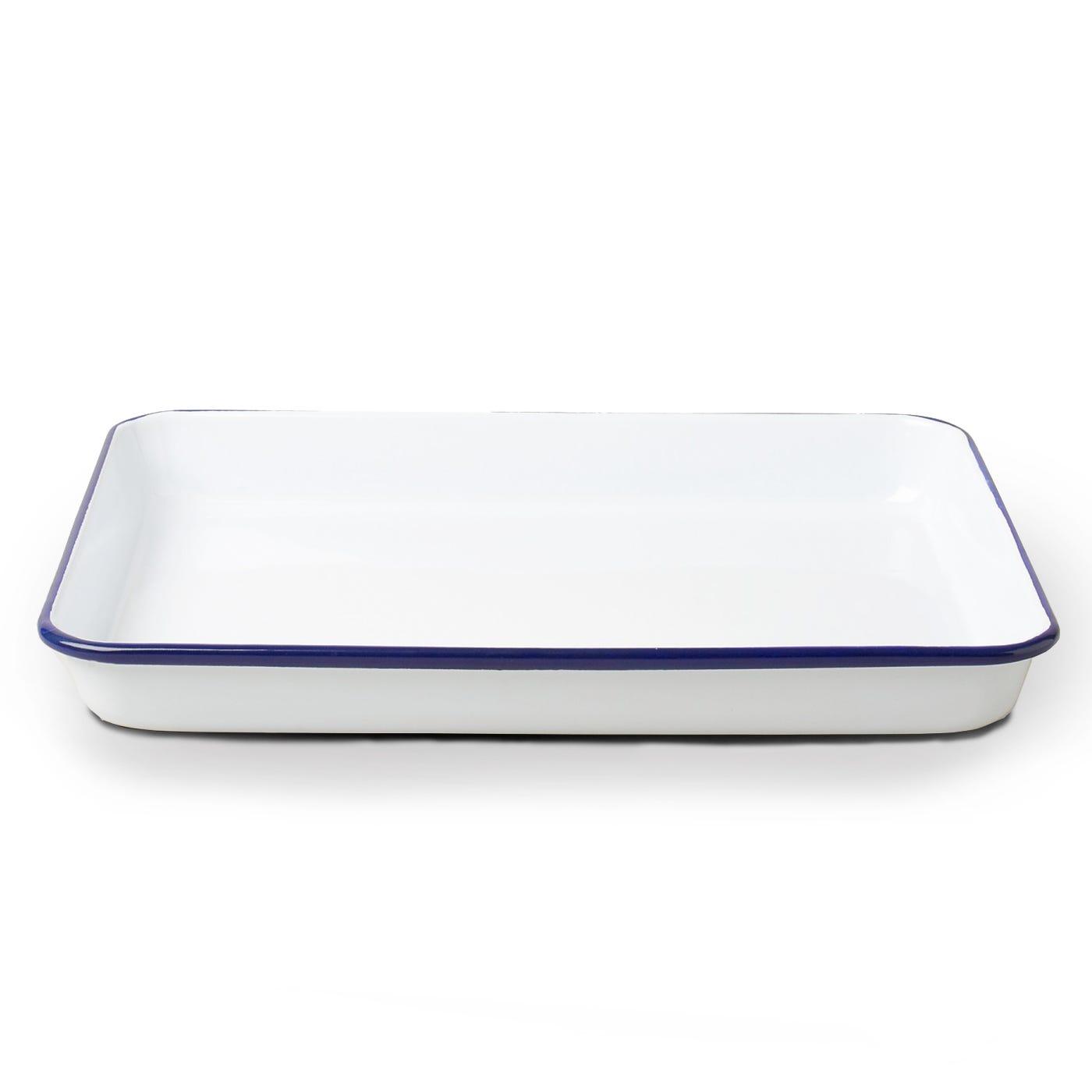 Falcon Enamelware Tray White & Blue