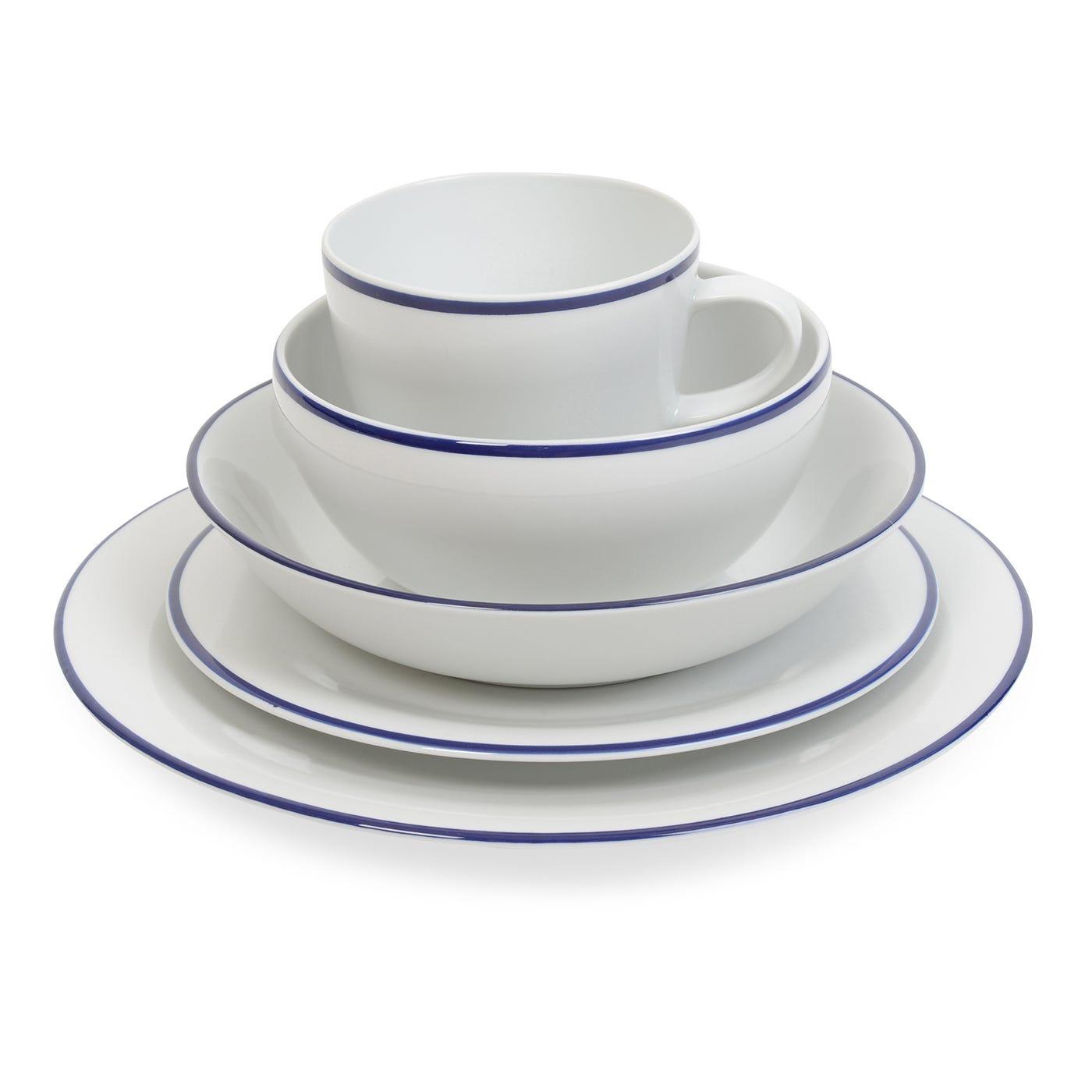 Seamless Blue Rim Pasta Plate