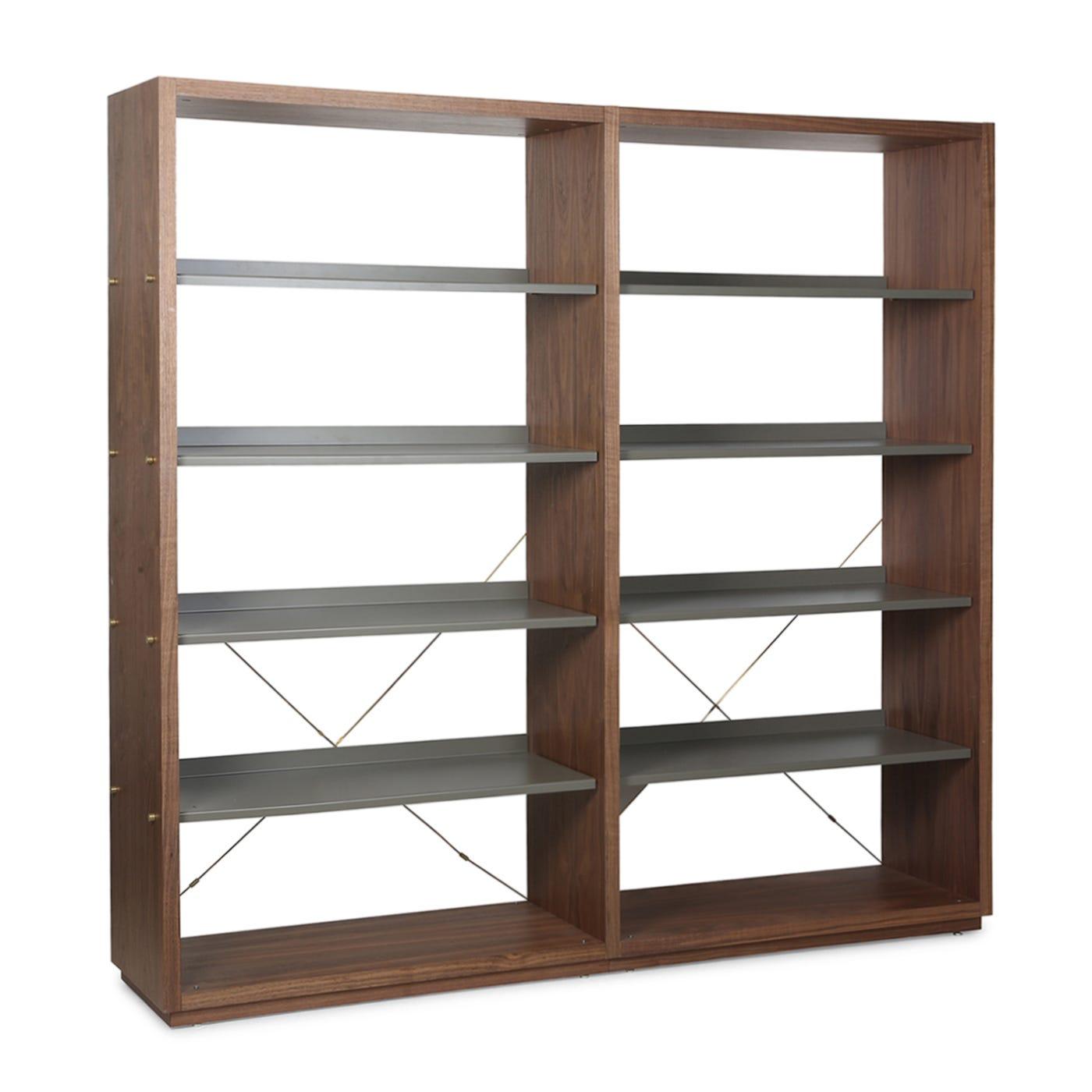 D3 Bookcase Walnut Grey Shelves Add On Add On Unit