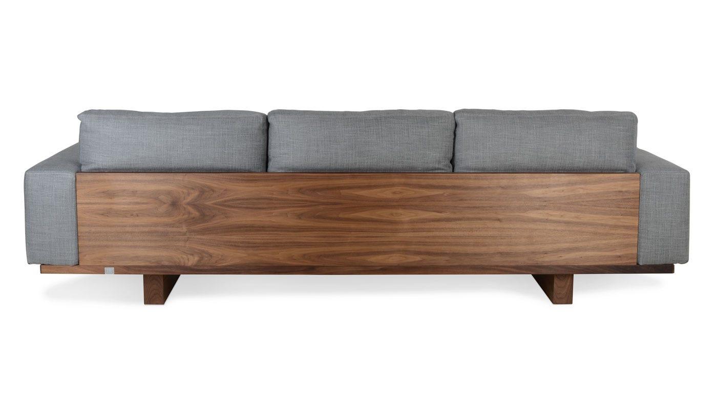 Utah sofa walnut grey fabric