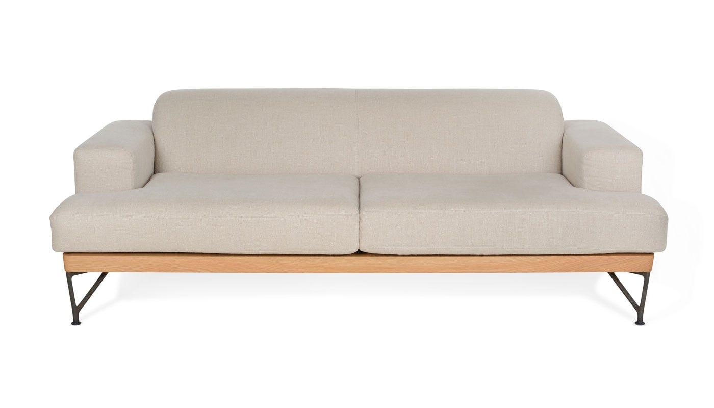 Armstrong 2 Seater Sofa Sahara Linen White Oak Frame