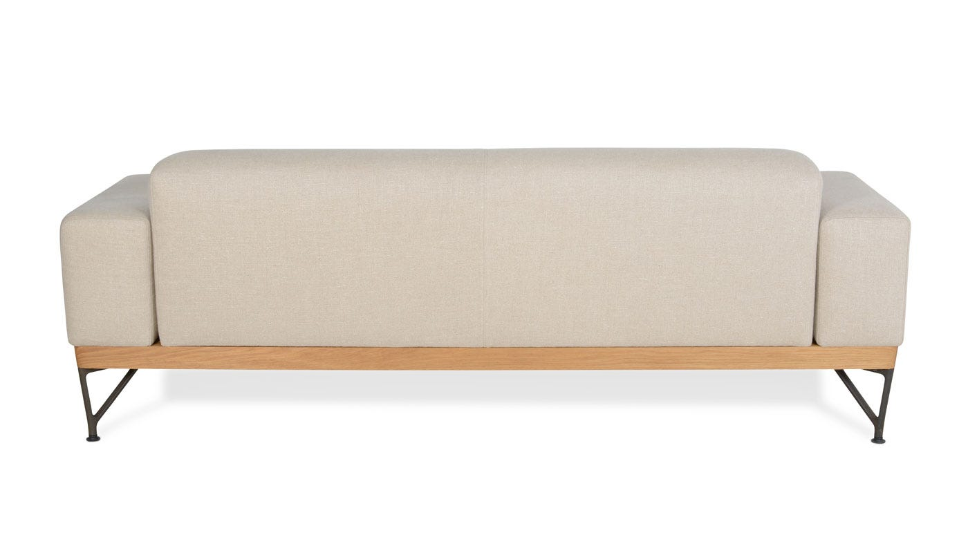 De La Espada Armstrong 2 Seater Sofa Sahara Linen White Oak Frame | HEALu0027S