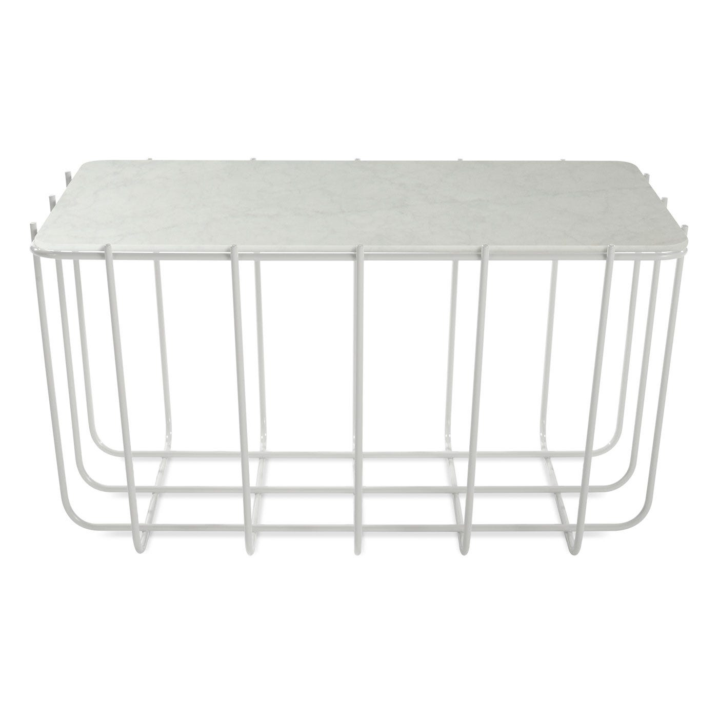 blu dot scamp small table with white base and marble top