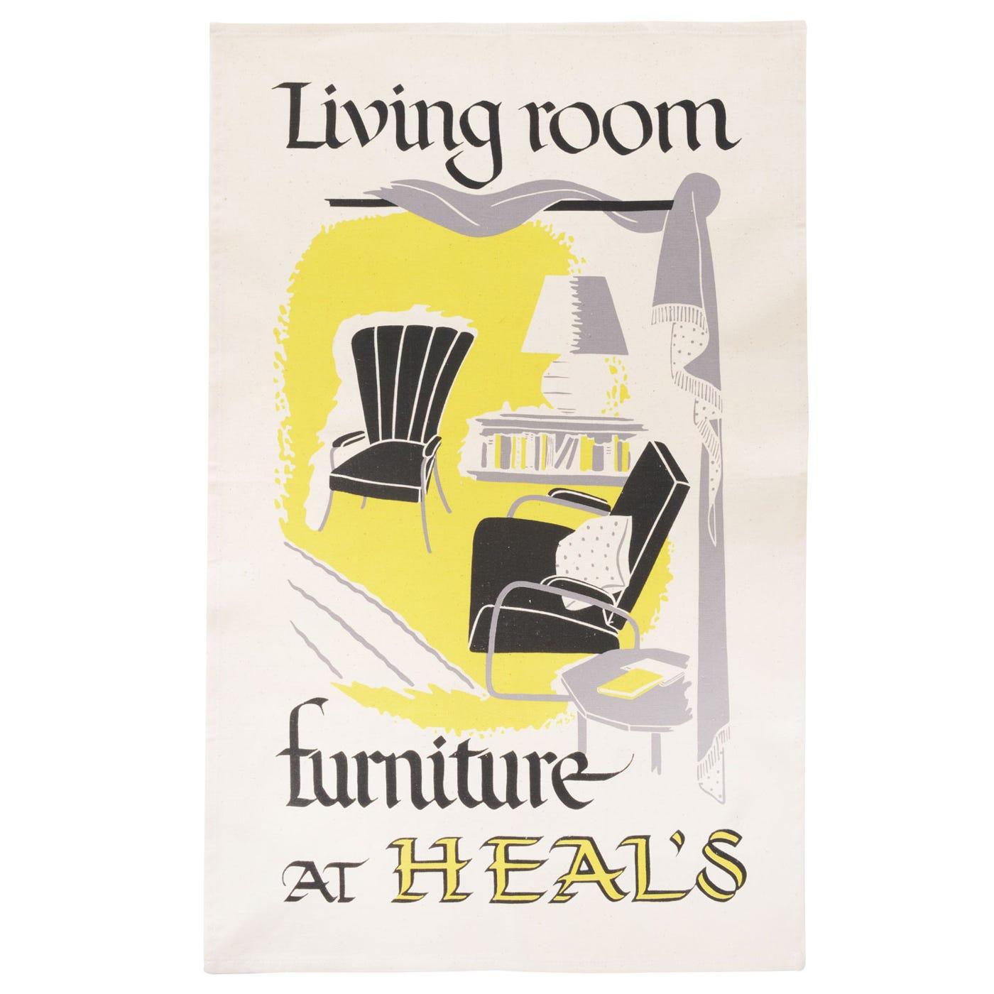 Heal's Poster Living Room Yellow Tea Towel
