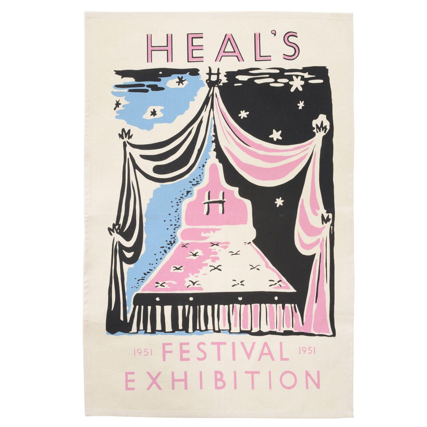 Heal's Poster 1951 Festival Black & Pink Tea Towel