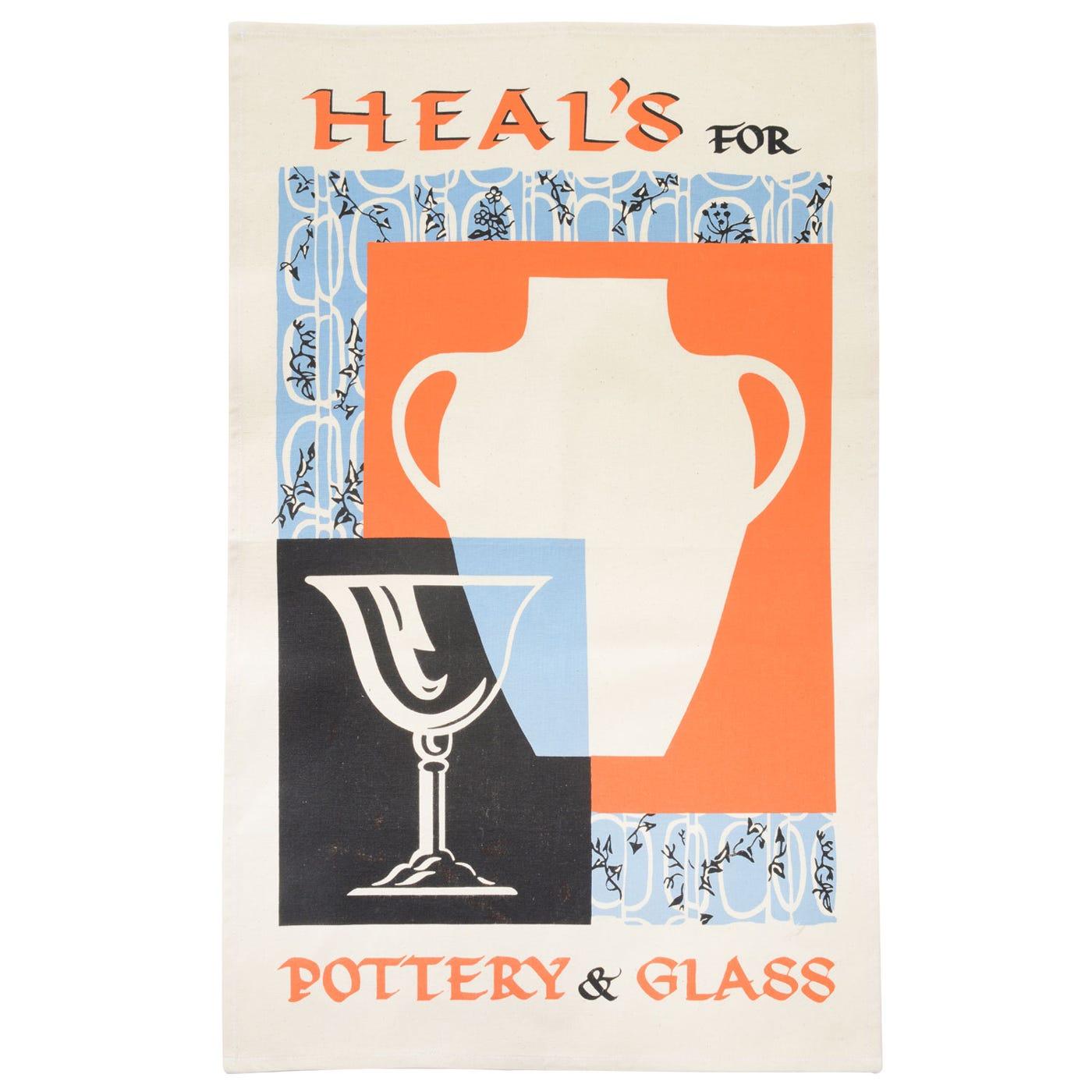 Heal's Poster Pottery & Glass Orange Tea Towel