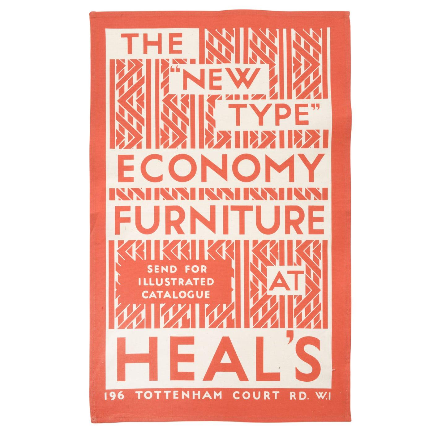 Heal's Heal's Poster Ecomony Red Tea Towel