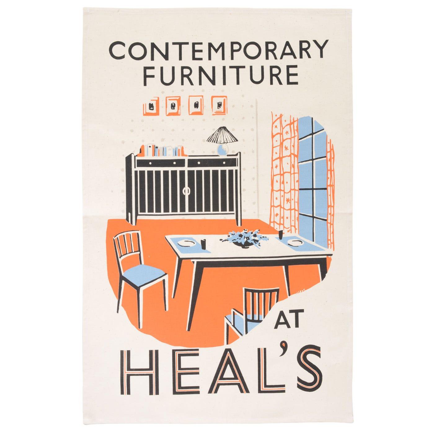 Heal's Poster Contemporary Furniture Tea Towel
