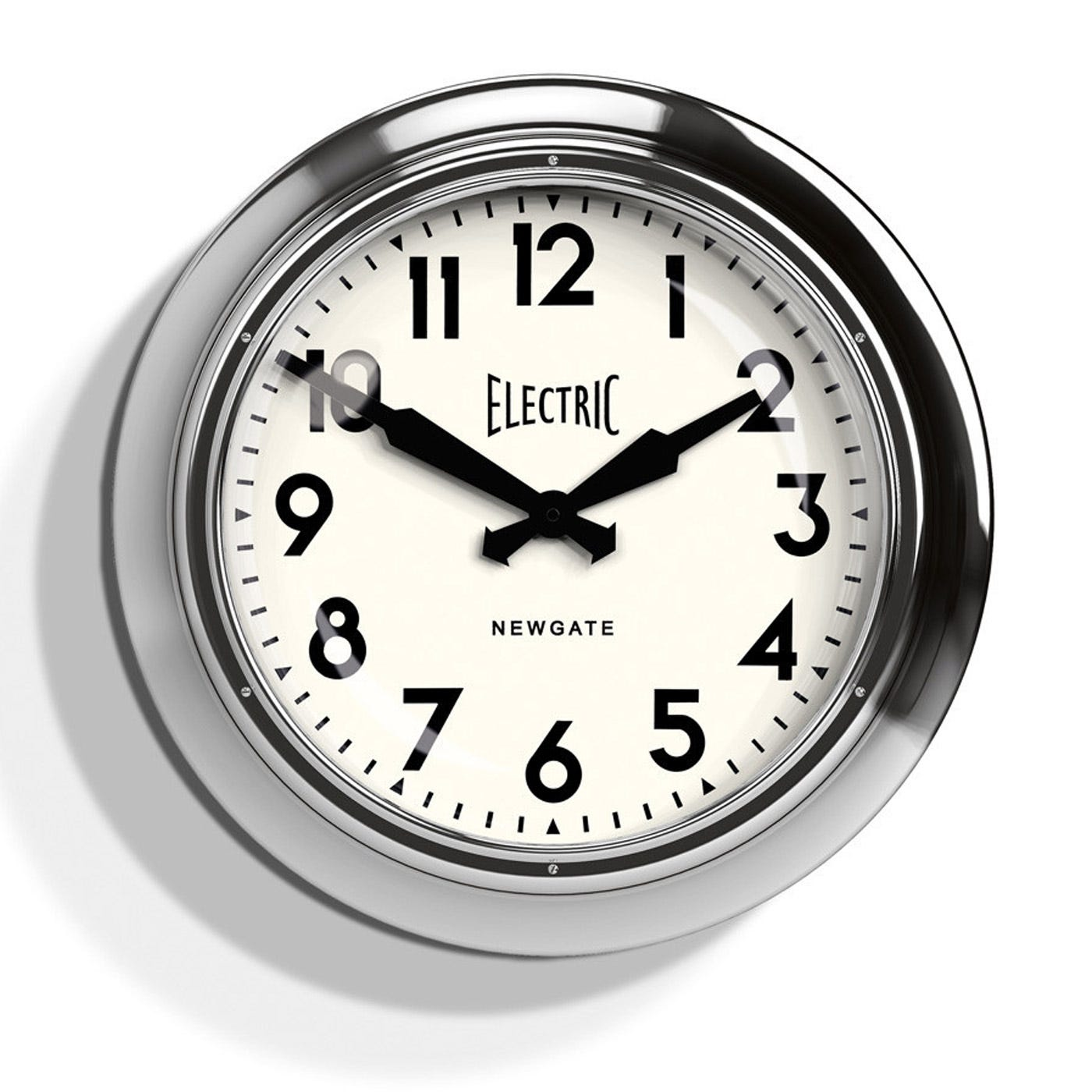 Newgate electric 50s chrome wall clock amipublicfo Image collections