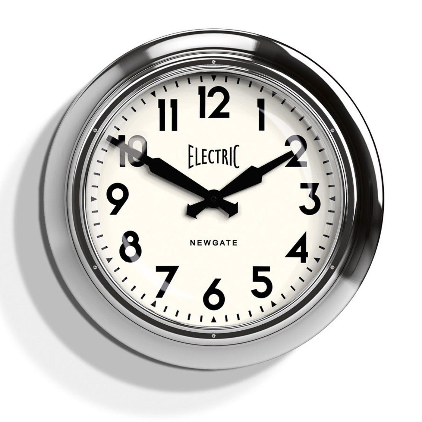 Newgate Electric 50s Chrome Wall Clock