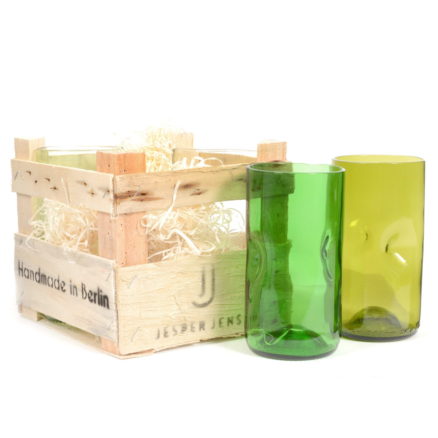 Set Of 4 Tall Glasses In Wooden Crate
