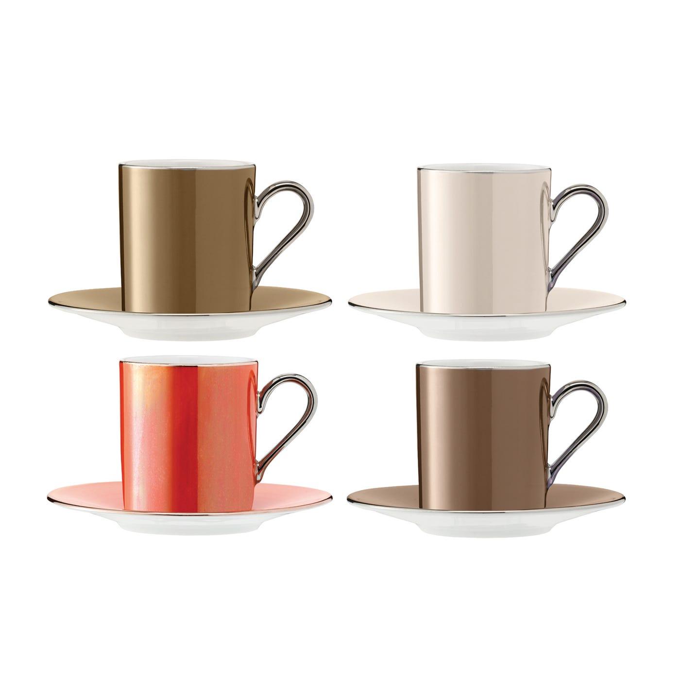 LSA International Polka Coffee Cup & Saucer Metallic Set Of 4