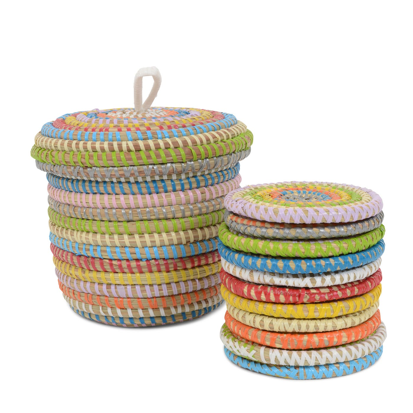 Multi Colour Coasters In Pot Set Of 12