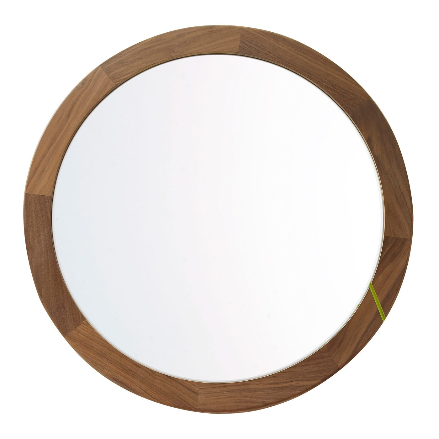 Walnut Frame Round Mirror