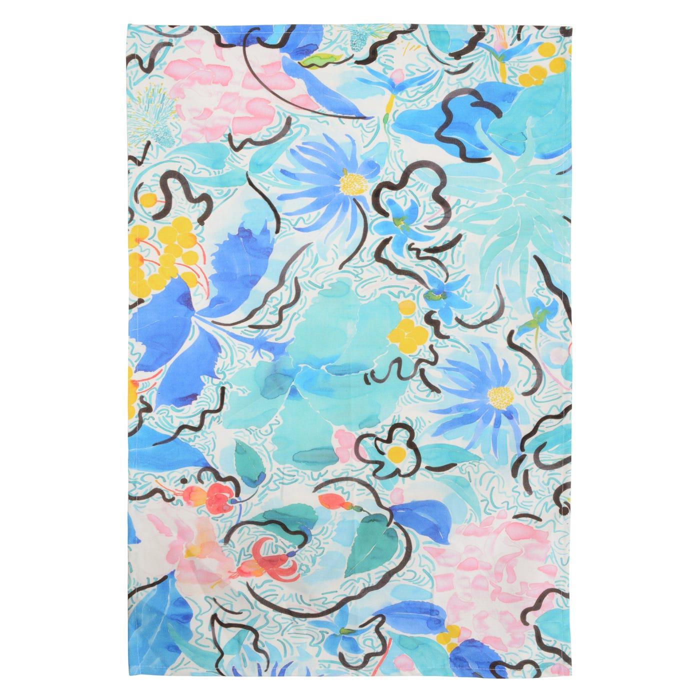 Le Jardin D'Ete Blue Flower Tea Towel