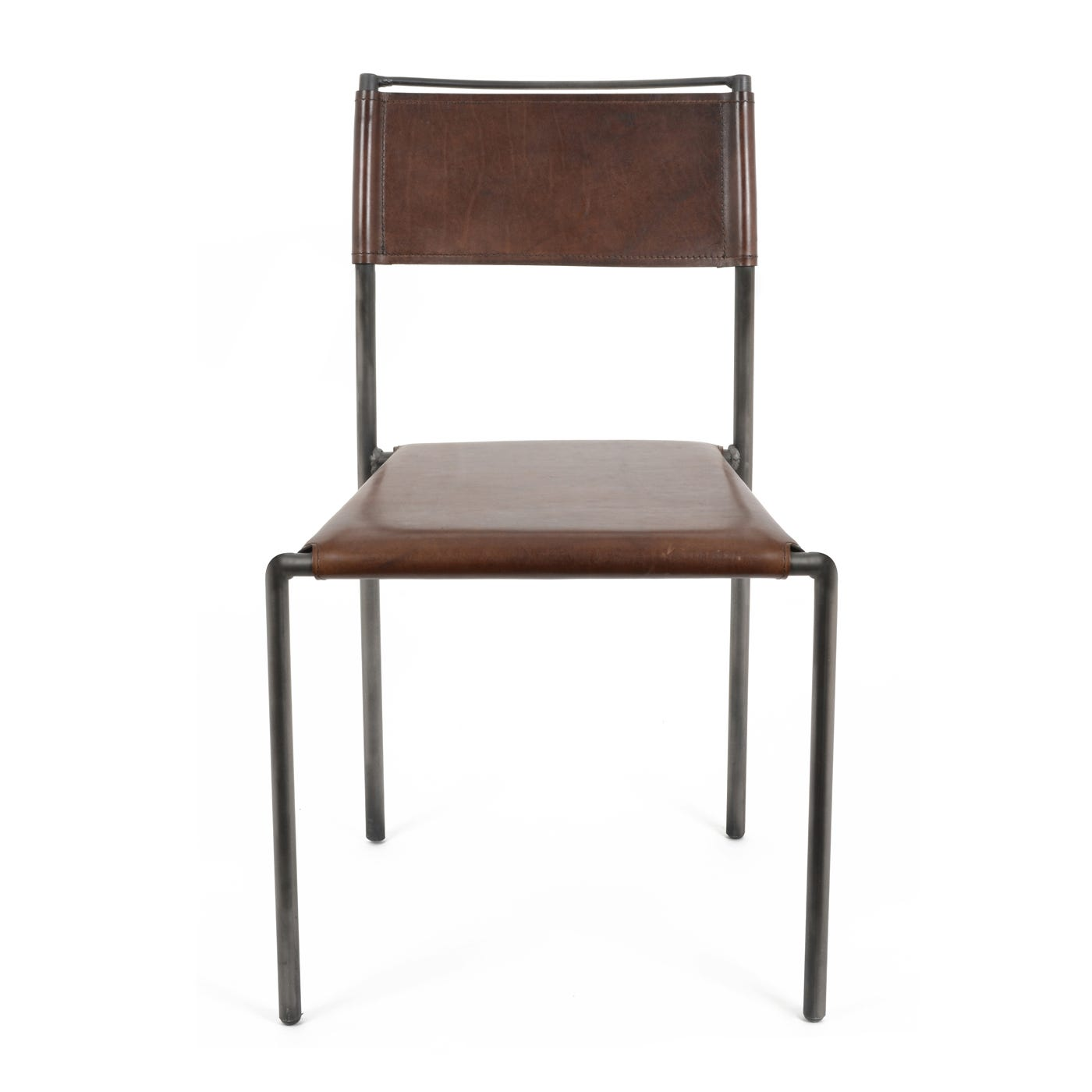 Heal's Ferra Side Chair Buffalo Leather Dark Brown