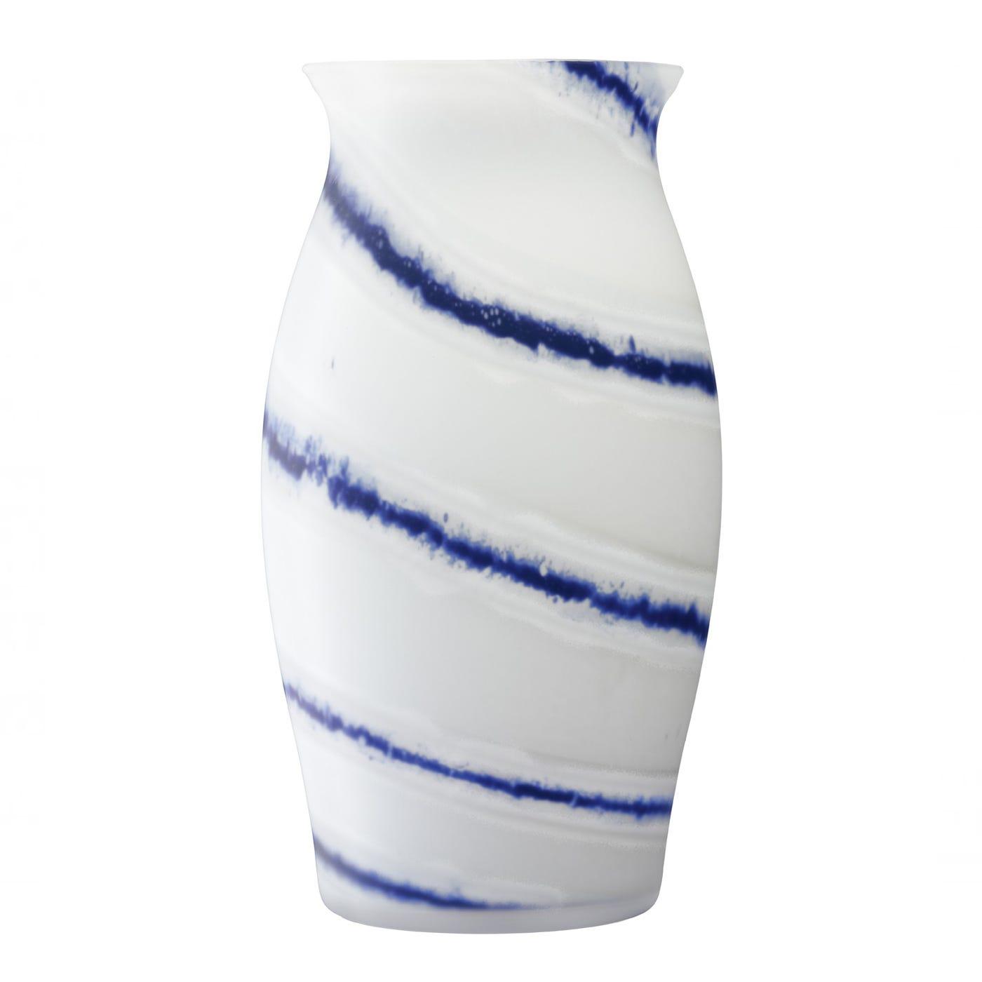 Batik Vase White & Blue