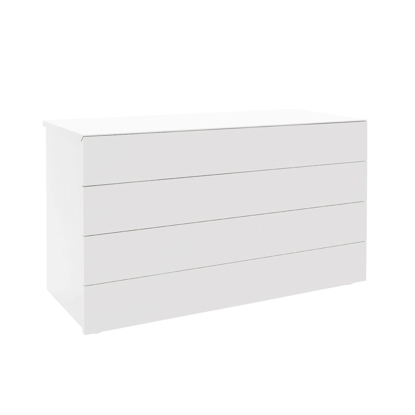 Cap Chest 4 Drawer White High Gloss Lacquer -  Warehouse Sale