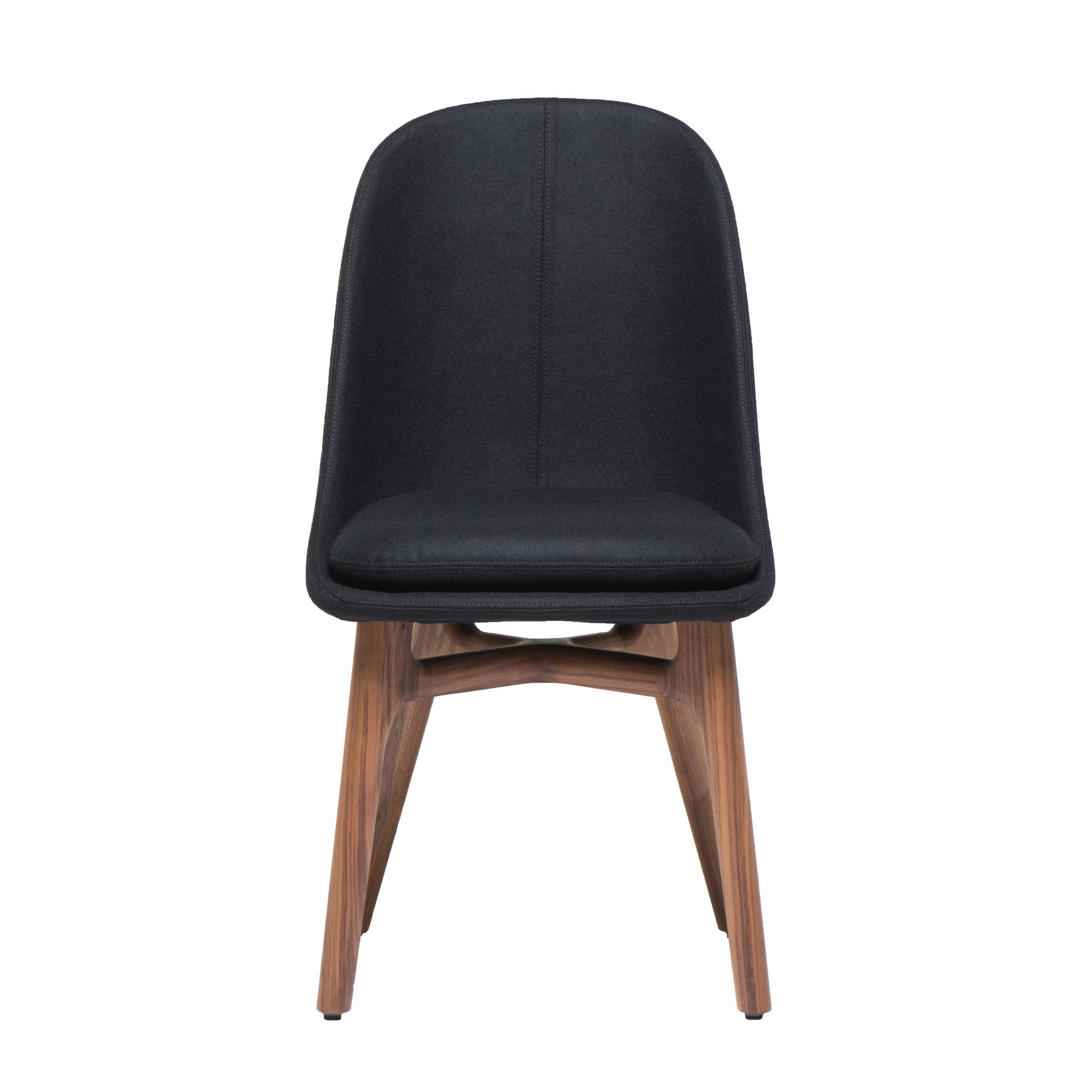 Solo Dining Chair Wide Walnut Black Wool