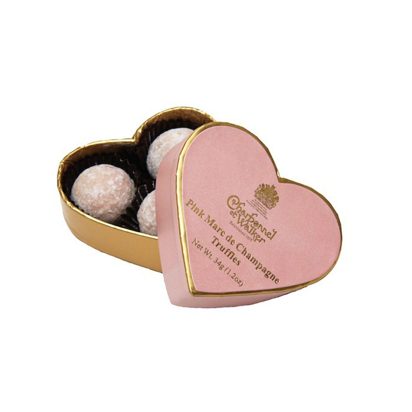 Pink Champagne Truffle Heart Box