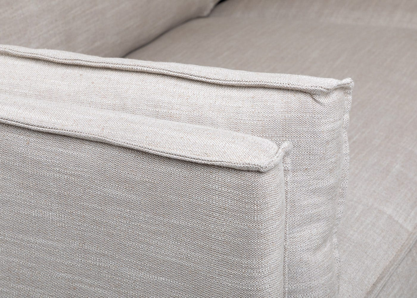 Tortona 3 Seater Sofa in Broad Weave Putty - Arm