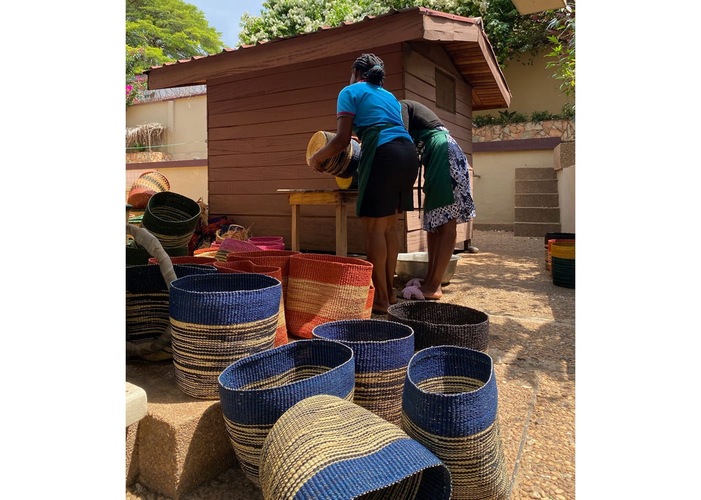 Akosua Afriyie-Kumi works with other artisans in small villages to create this collection of handwoven baskets