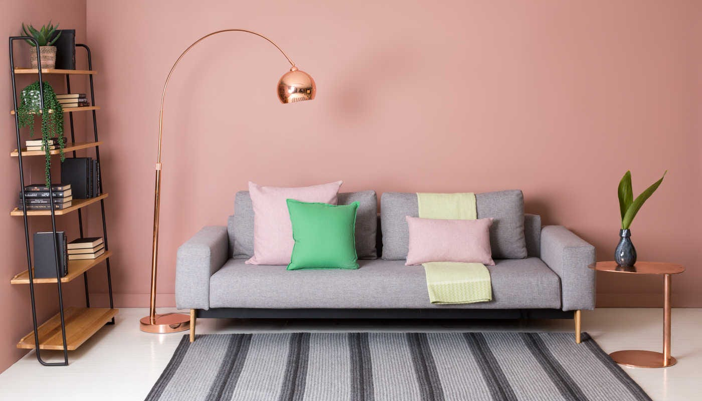 Islington Lumbar Cushion in Blush shown on the far right