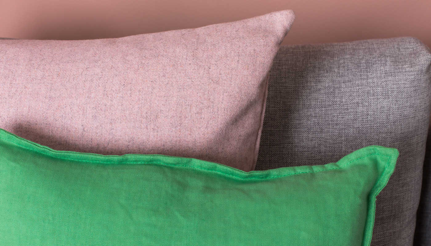 Islington Cushion in Blush shows the different tones due to the marl effect