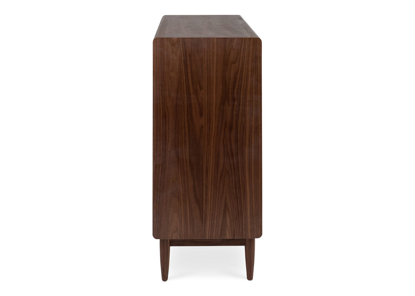 As shown: Amira 8 drawer wide chest walnut - Side profile.