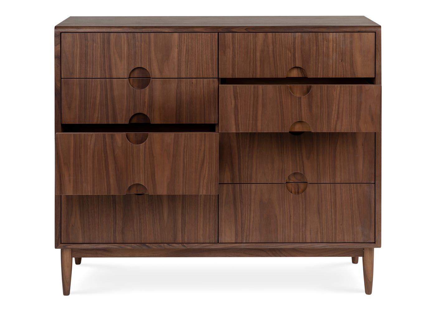 As shown: Amira 8 drawer wide chest walnut