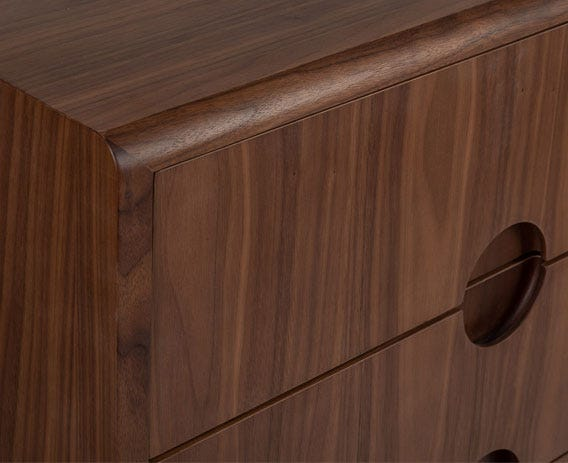 Amira showcases premium craftsmanship with mitre-join corners, routered handles and softly shaped edging.