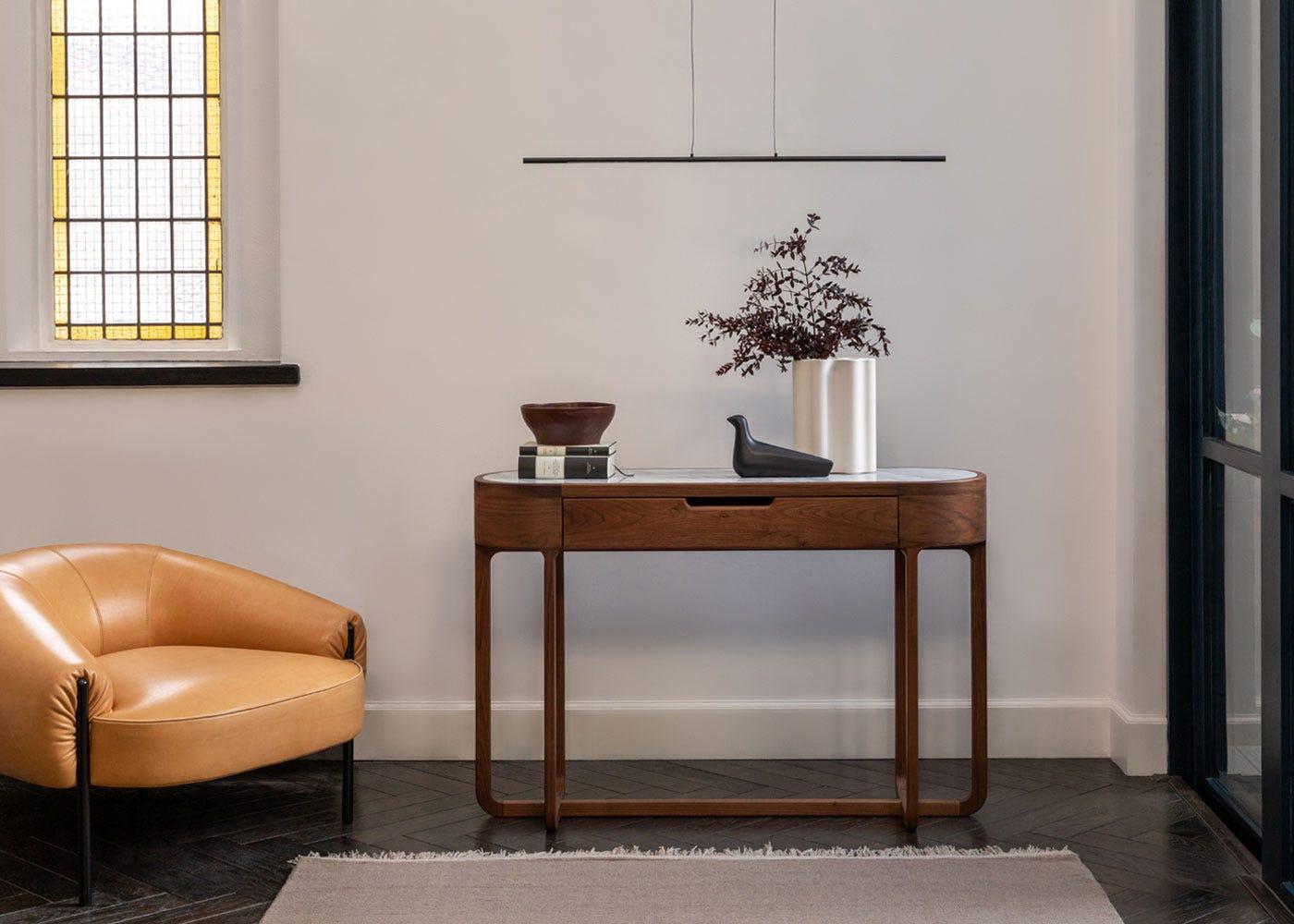 As shown: Anais console table, Saber pendant light black.