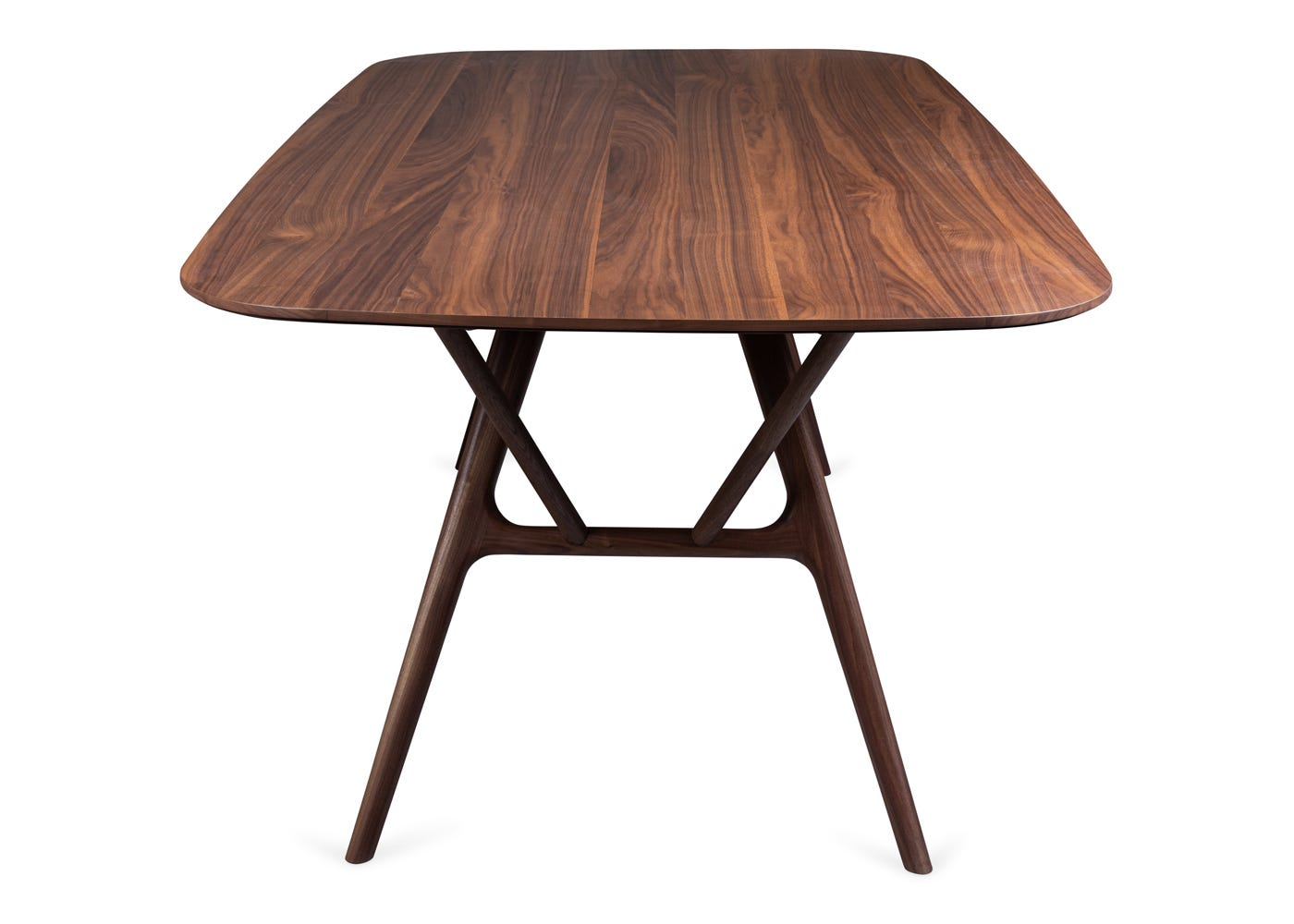 As shown: Anais walnut dining table - Side profile.