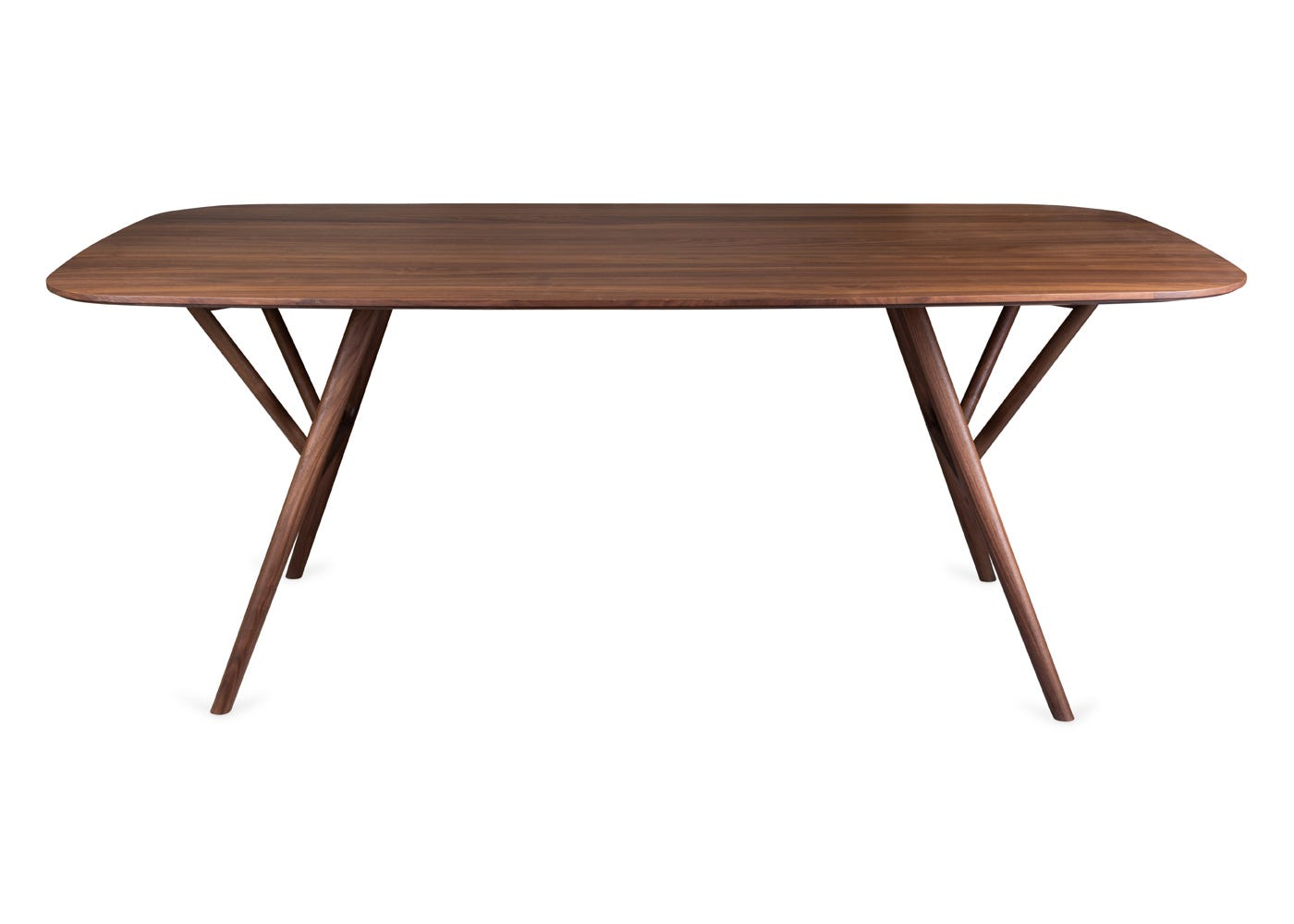 As shown: Anais walnut dining table - Front profile.