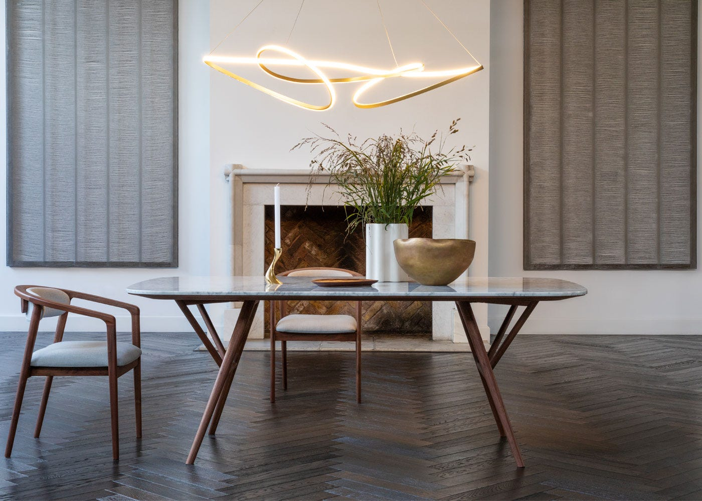 Anais dining table and chair, Ribbon XL pendant light.