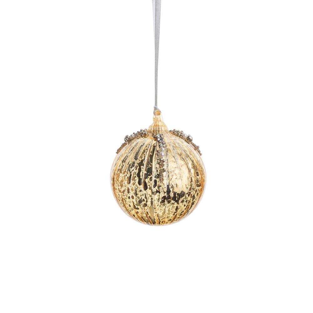 Antique Beaded Gold Ball Decoration 6cm