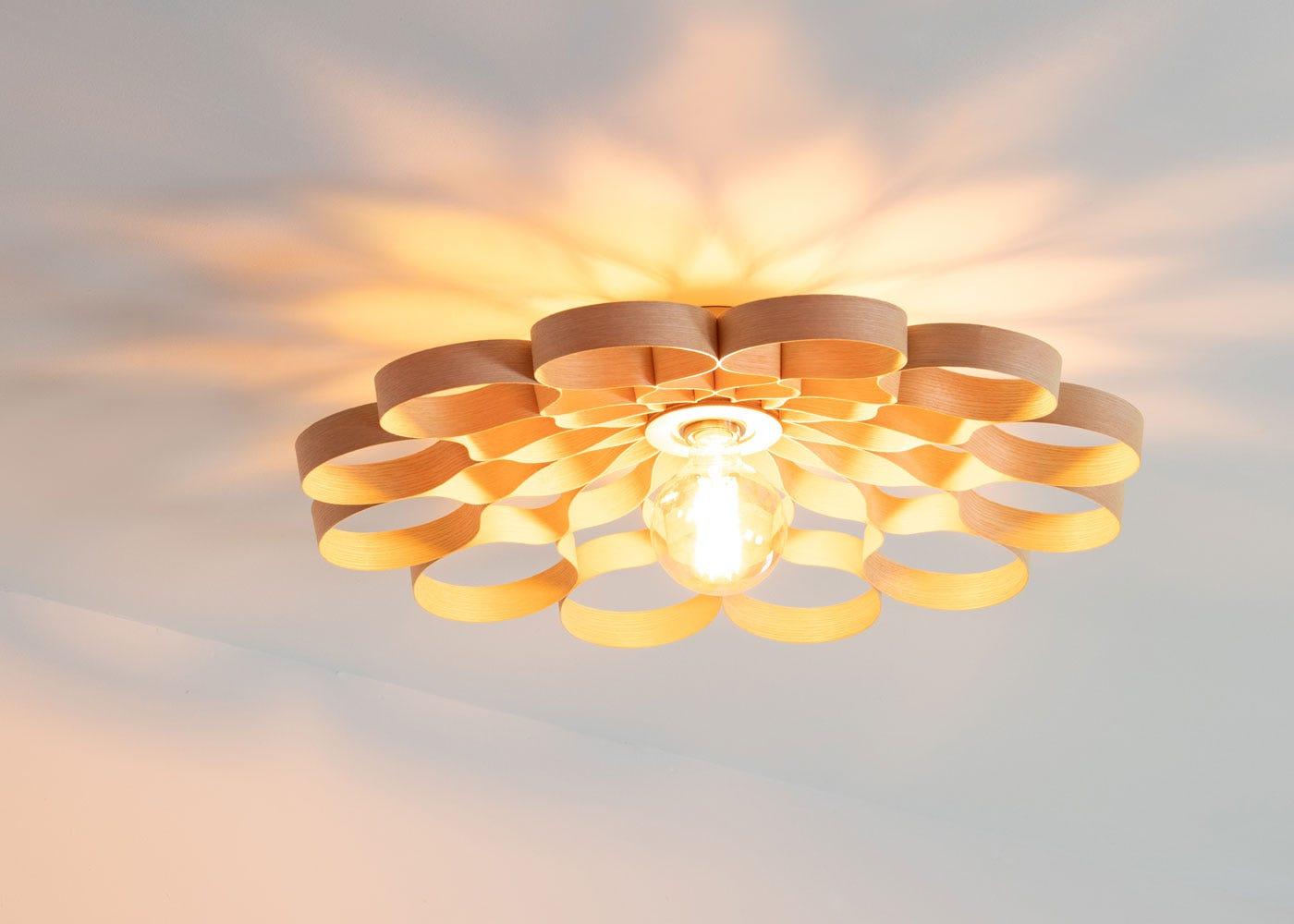 Arame Flush Ceiling Light Ash - On.