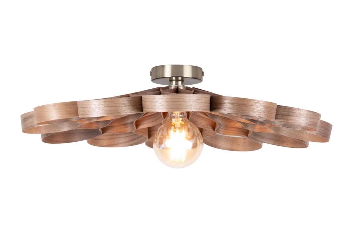 Arame Flush Ceiling Light Walnut.