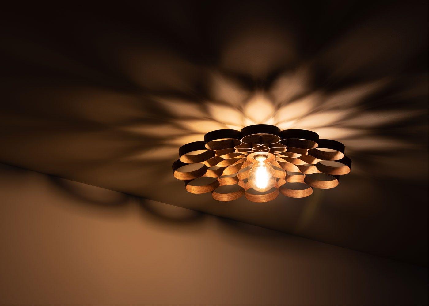 Arame Flush Ceiling Light Walnut - On.