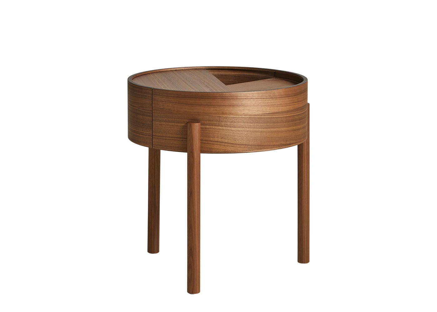 Arc Side Table Lacquered Walnut.