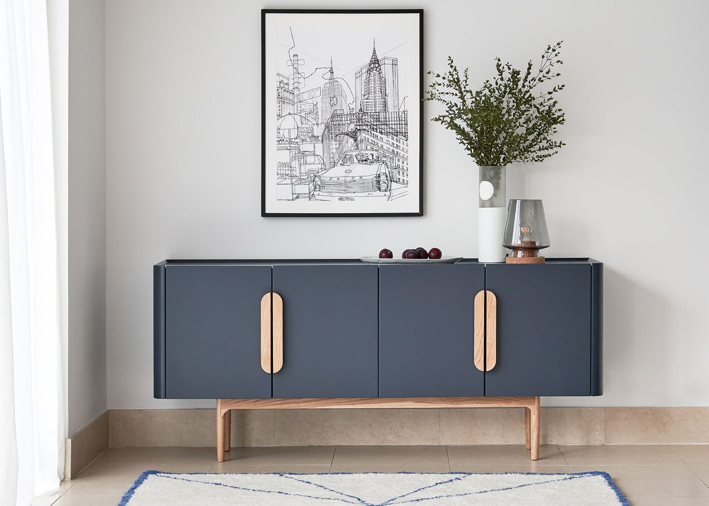 As shown: Arden table lamp off, Emilie sideboard.