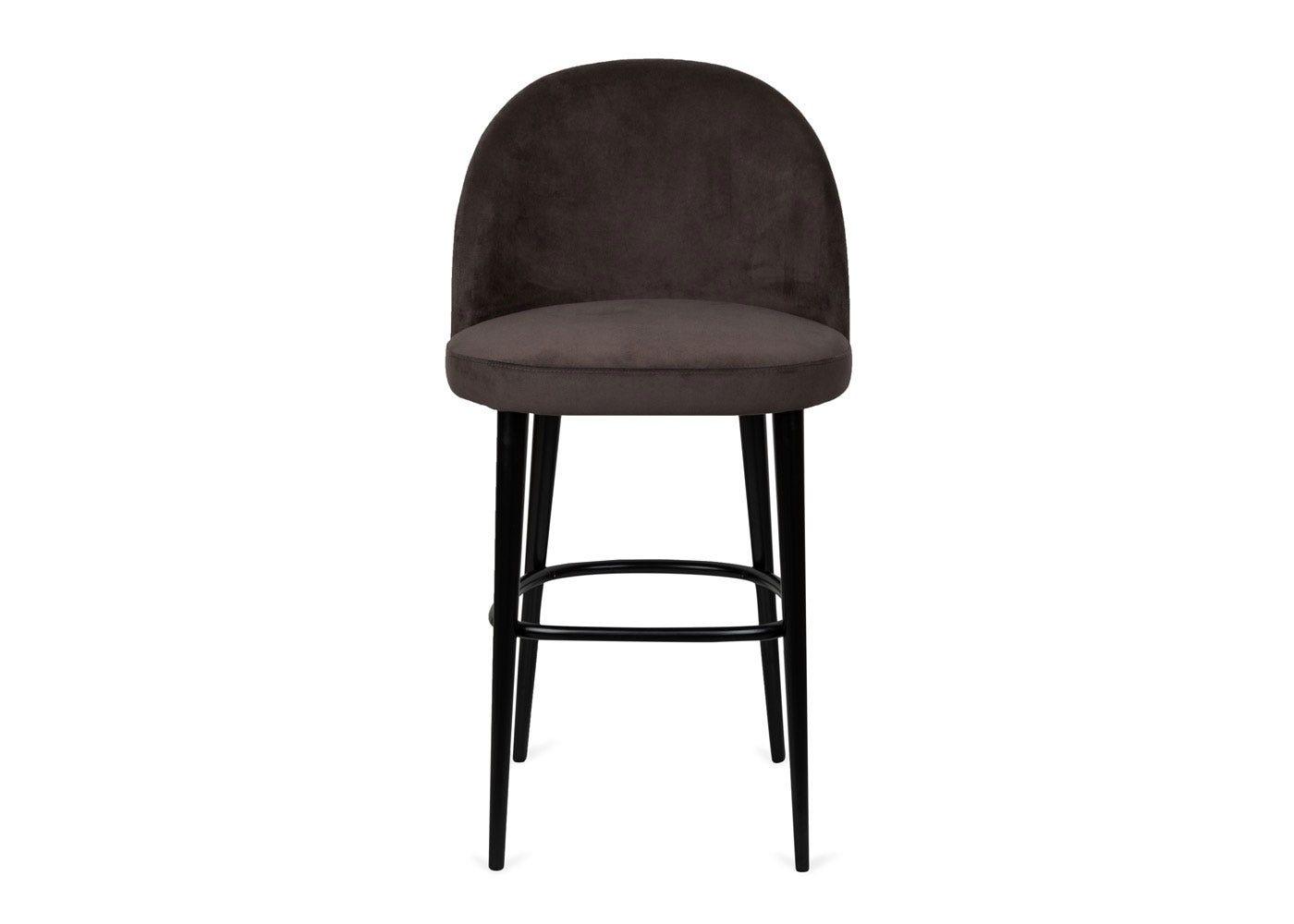 As shown: Austen bar stool plush velvet asphalt - Front profile.