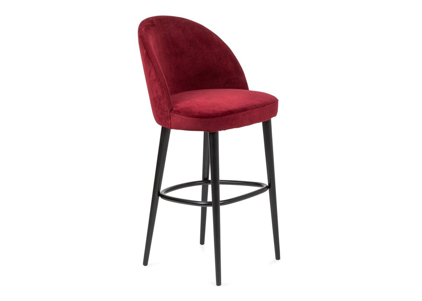 As shown: Austen bar stool plush velvet burgundy black leg - Side profile.
